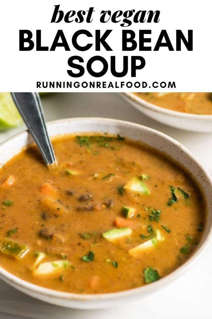 Pinterest graphic with an image and text for black bean soup.