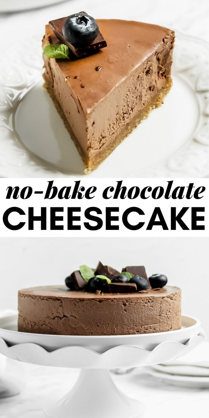 Pinterest graphic with an image and text for chocolate cheesecake.