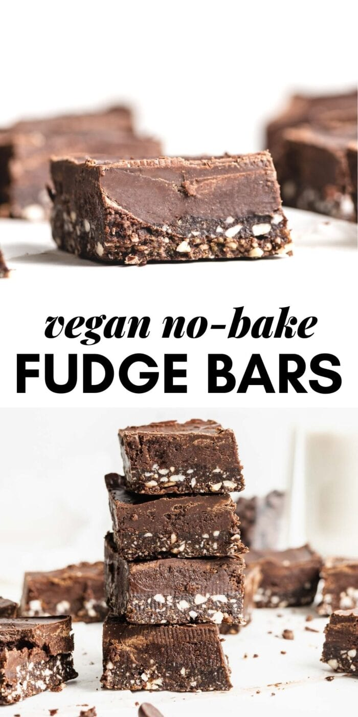 Pinterest graphic with an image and text for no-bake chocolate fudge bars.