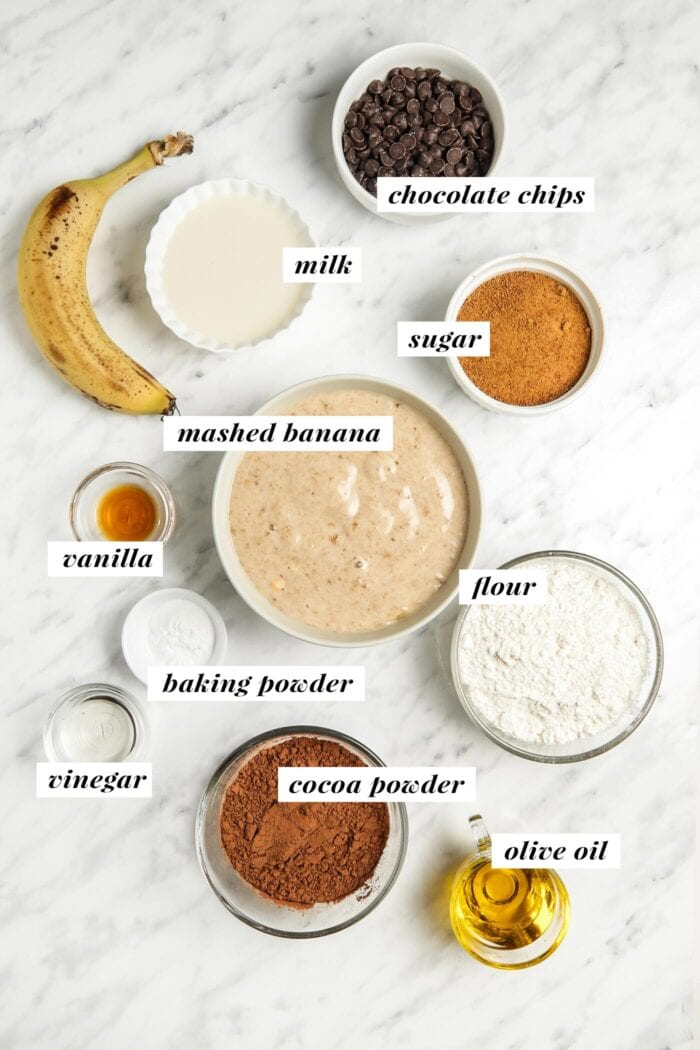 Visual of ingredients needed for making chocolate banana muffins, each ingredient is labelled with text overlay.