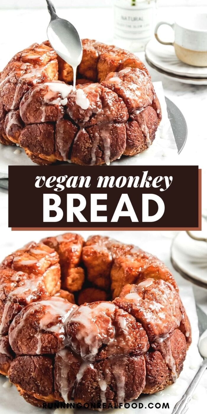 Pinterest graphic with an image and text for vegan monkey bread.