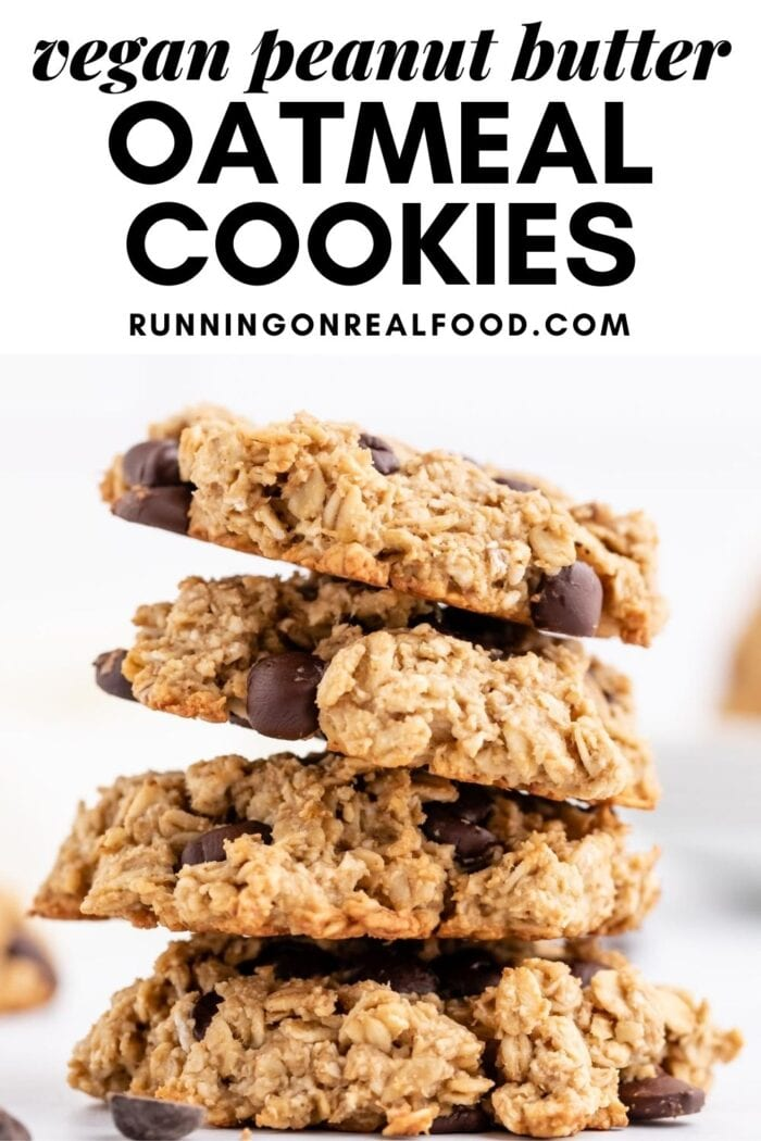 Pinterest graphic with an image and text for peanut butter oatmeal chocolate chip cookies.