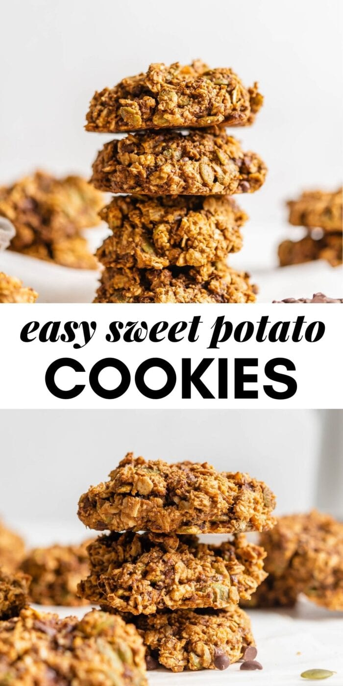 Pinterest graphic with an image and text for sweet potato cookies.