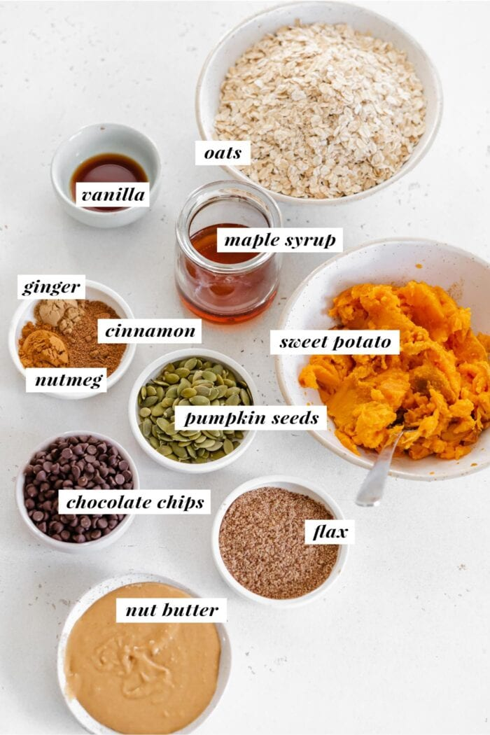 Visual of ingredients needed for making sweet potato cookies. Each ingredient is labelled with text overlay.