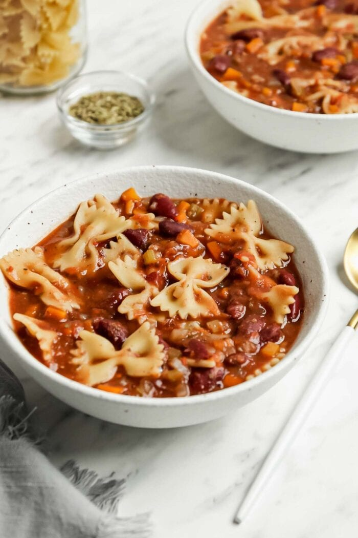 Bowl of minestrone soup with beans and pasta.