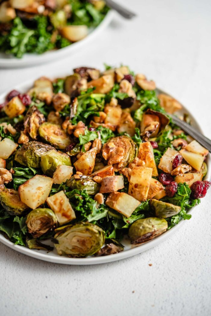 Colourful kale salad with potato, brussels sprouts, walnuts and cranberries on a plate.