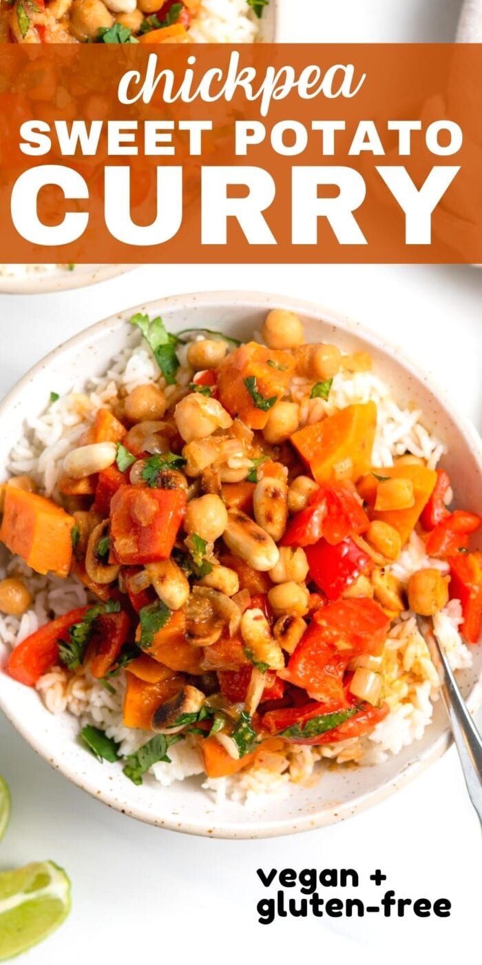 Pinterest graphic with an image and text for sweet potato chickpea curry.