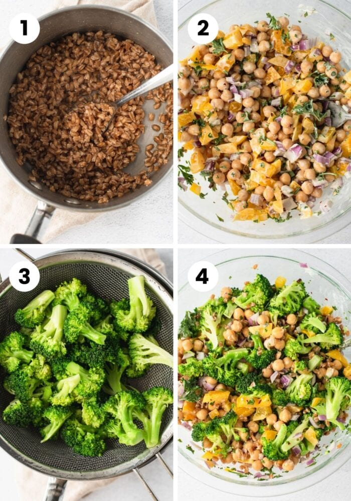 Collage of step by step images for making a broccoli farro chickpea salad.