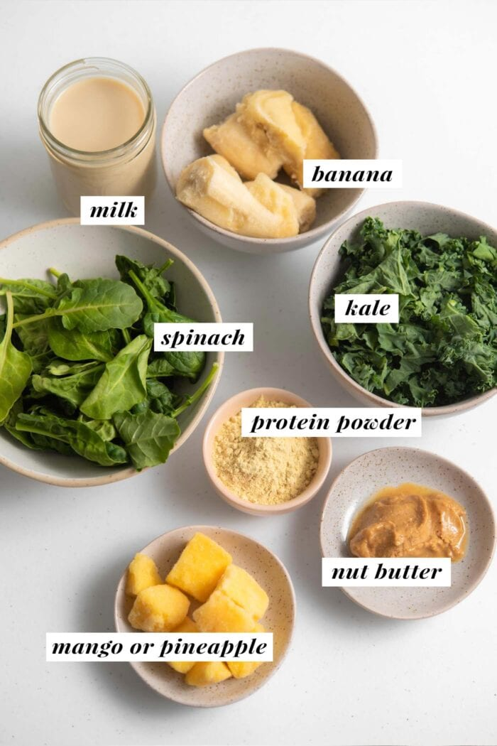Visual list of ingredients for making a kale smoothie.