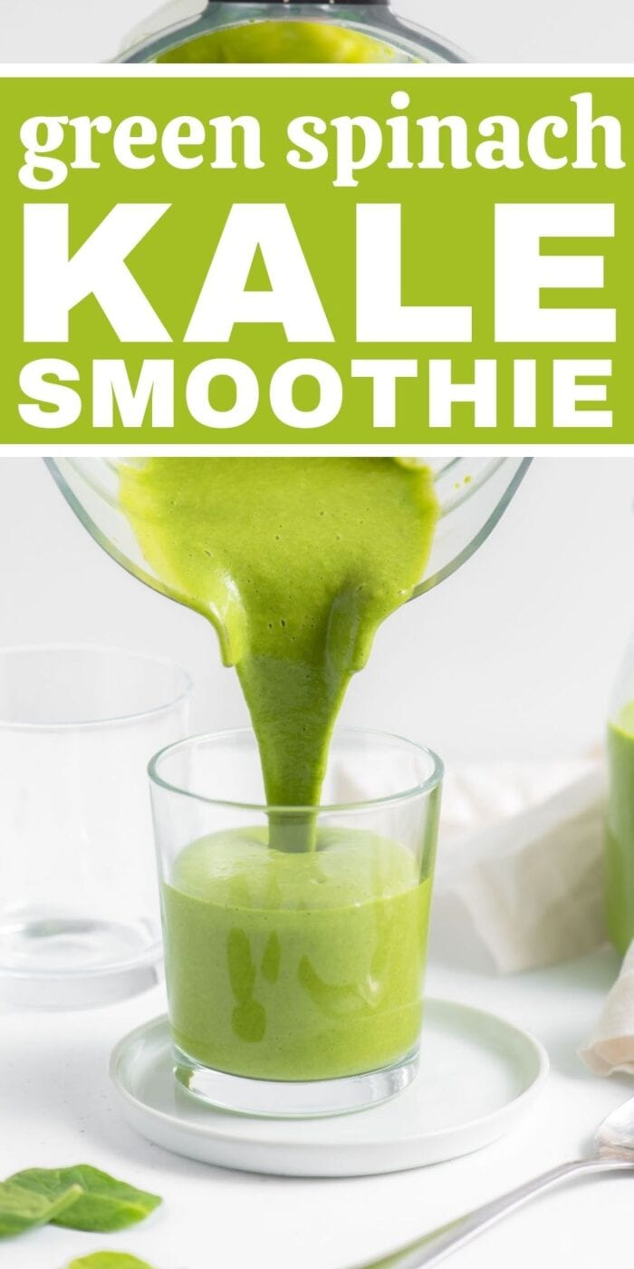 Pinterest graphic with an image and text for green kale smoothie.
