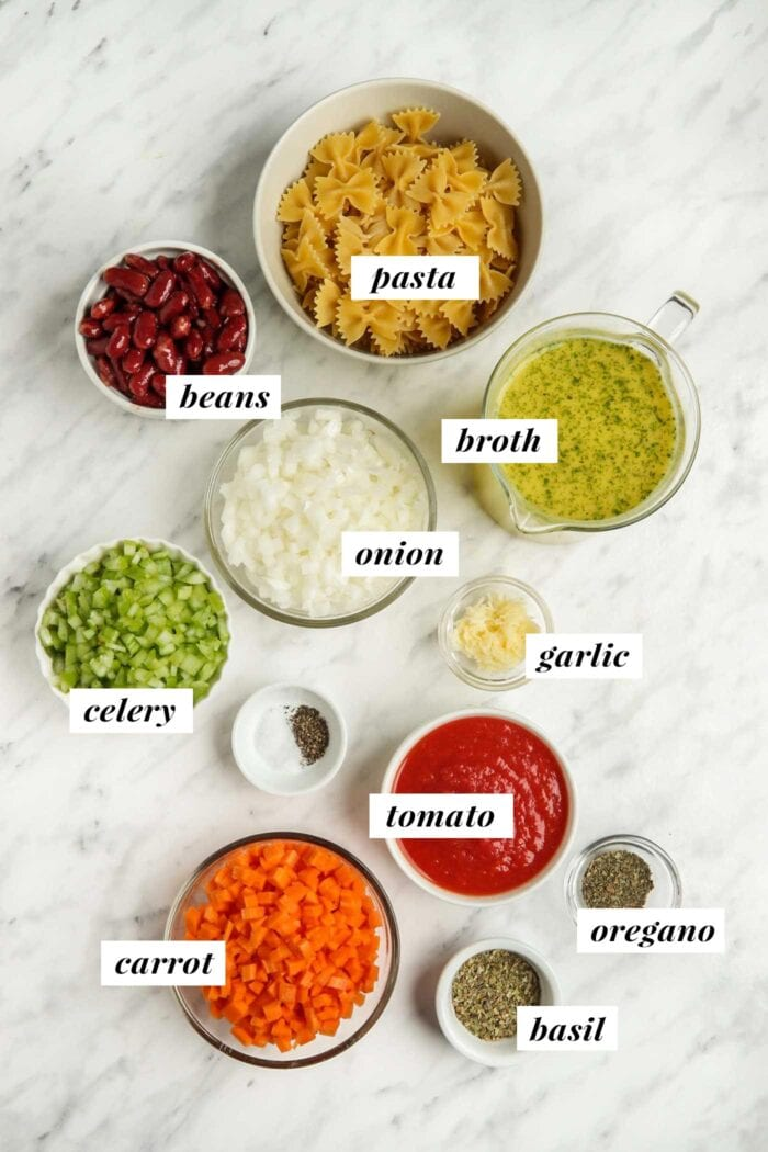 Visual of ingredients labelled with text for making a minestrone soup recipe.