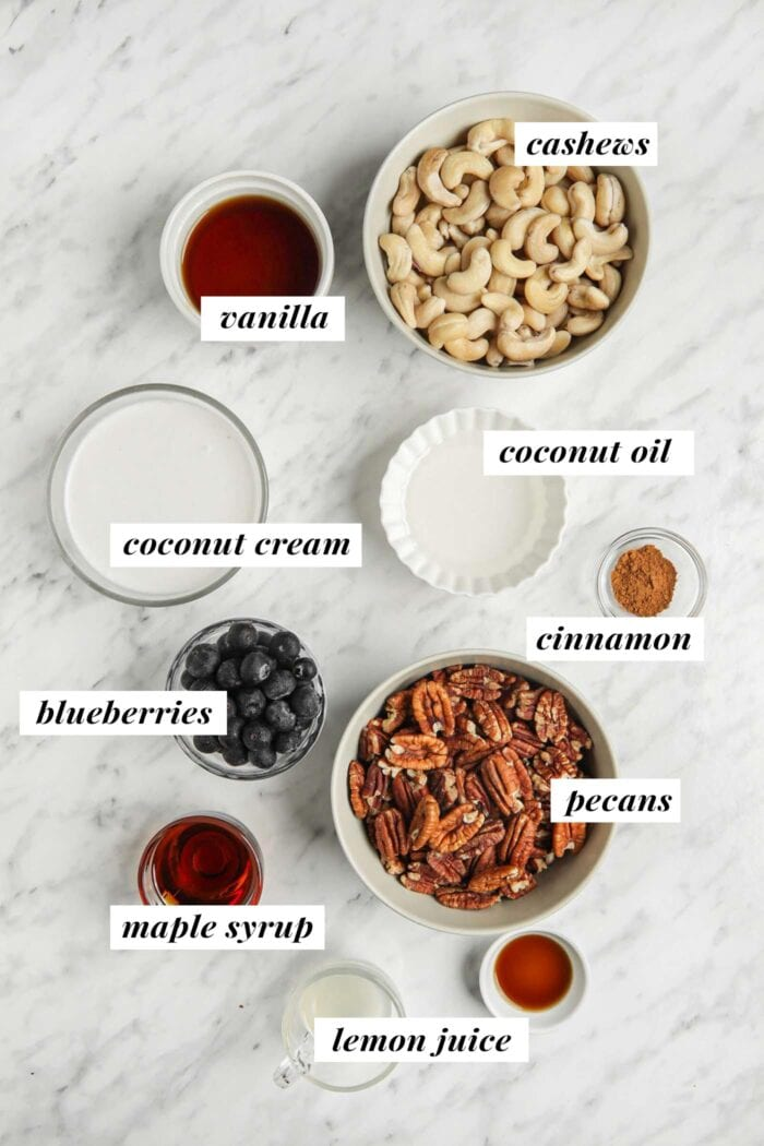 Visual list of ingredients for a raw blueberry cheesecake.