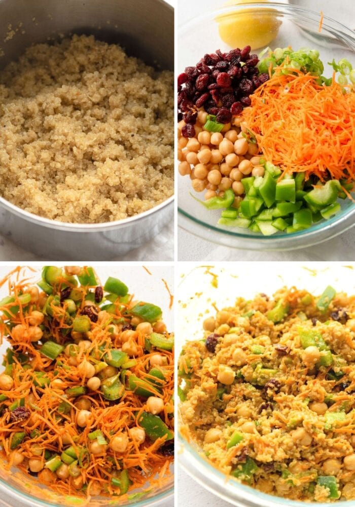 Collage of step by step images for making a curried quinoa chickpea salad with carrot and scallions.