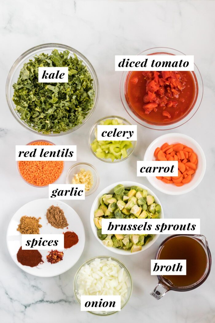Visual list of ingredients for making a kale lentil soup.