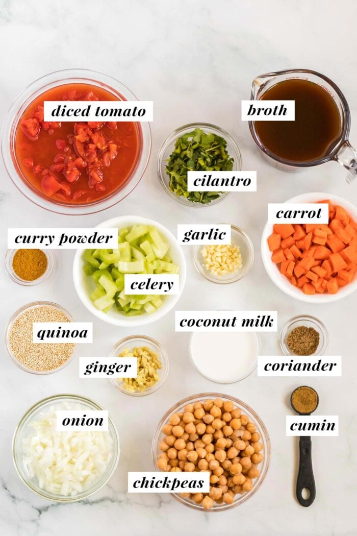 Visual list of ingredients for making a chickpea and quinoa stew.