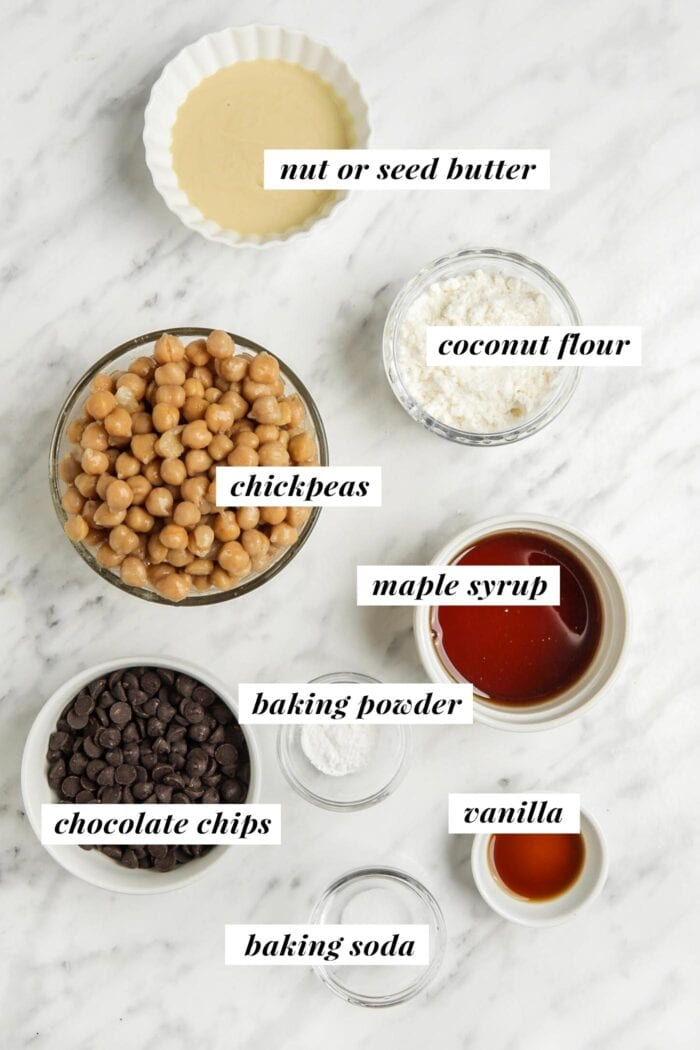 Visual ingredient list for making a chickpea blondie recipe.