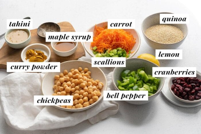 Visual ingredient list for a curried chickpea quinoa salad recipe. Shows all ingredients labelled with text.
