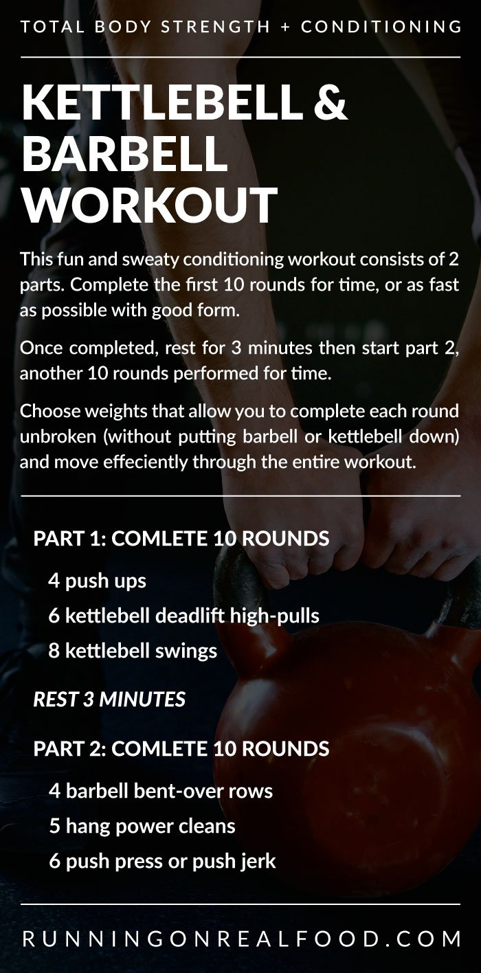 Written workout instructions for a kettlebell and barbell conditioning wokrout.