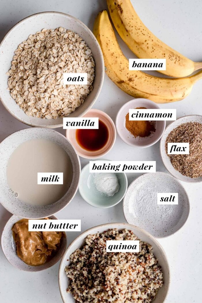 Visual of ingredients for making quinoa breakfast bars.