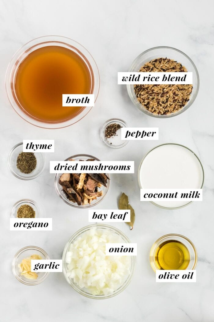 Visual list of ingredients for making a wild rice and mushroom soup recipe.