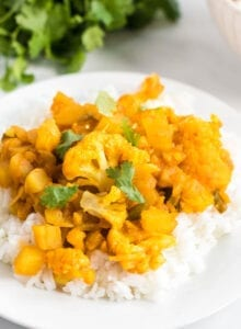 Plate of aloo gobi or curried potato and cauliflower served over a bed of jasmine rice and topped with cilantro.