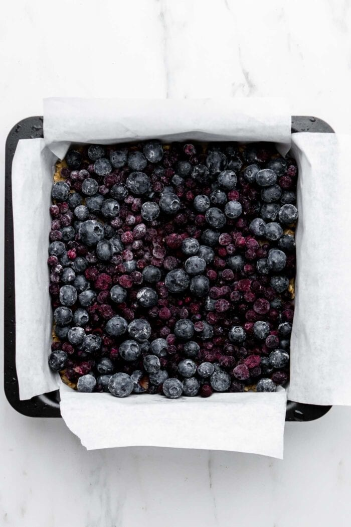 Fresh blueberries in a baking pan.