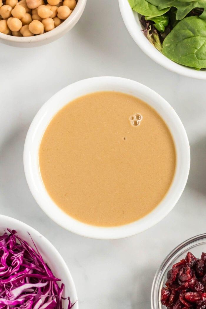 Creamy tahini in a bowl.