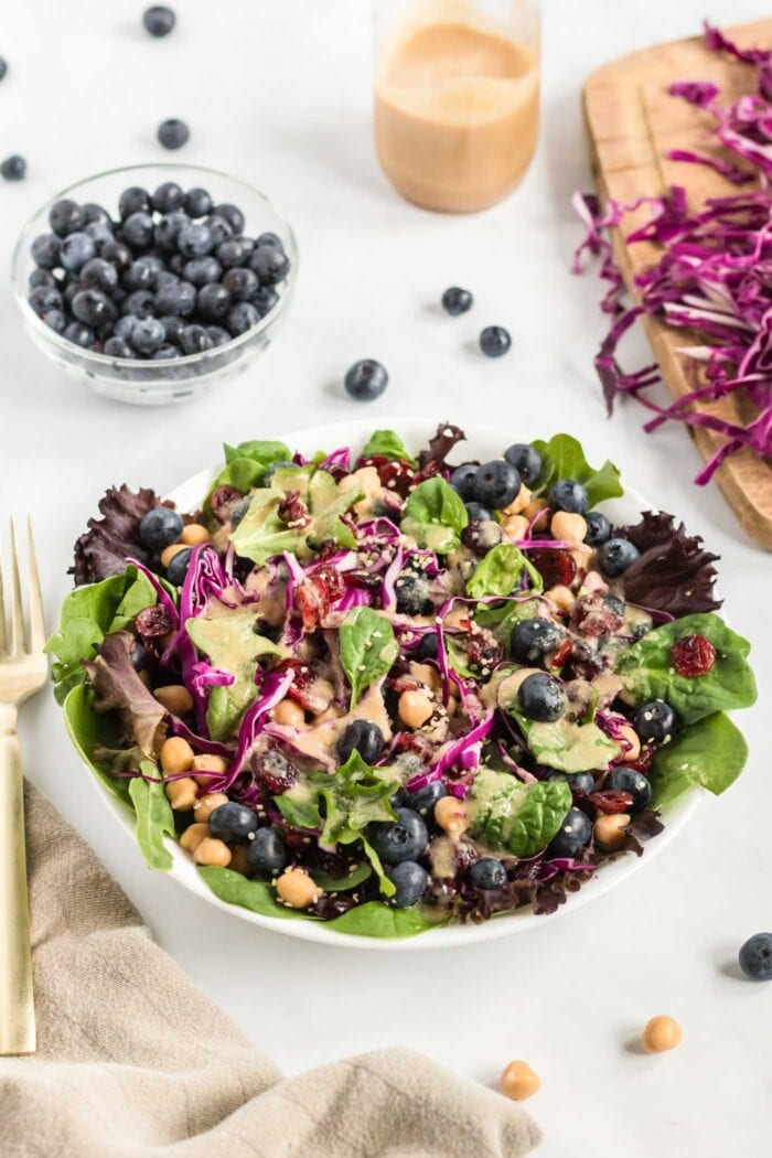 Colourful salad with greens, cabbage and blueberries. Small dish of blueberries in background.