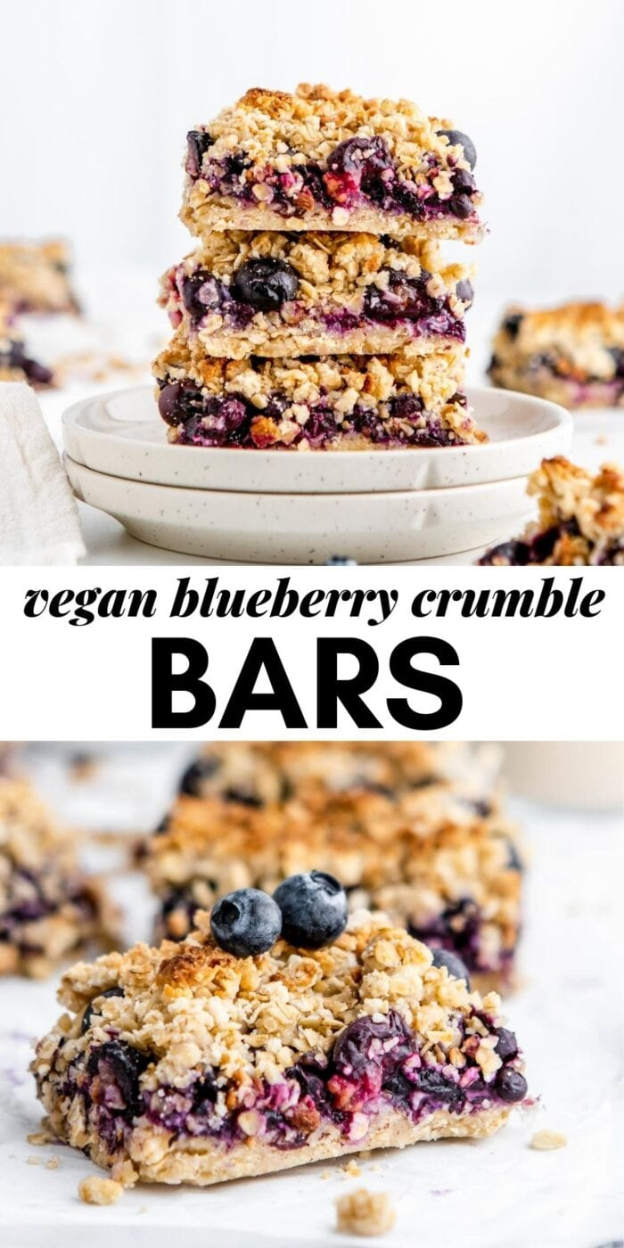Pinterest graphic for blueberry crumble bars.