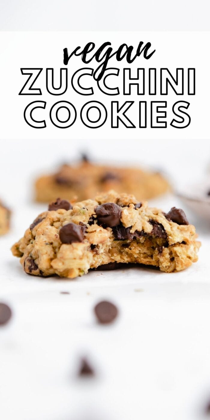 Pinterest graphic for zucchini chocolate chip cookies.