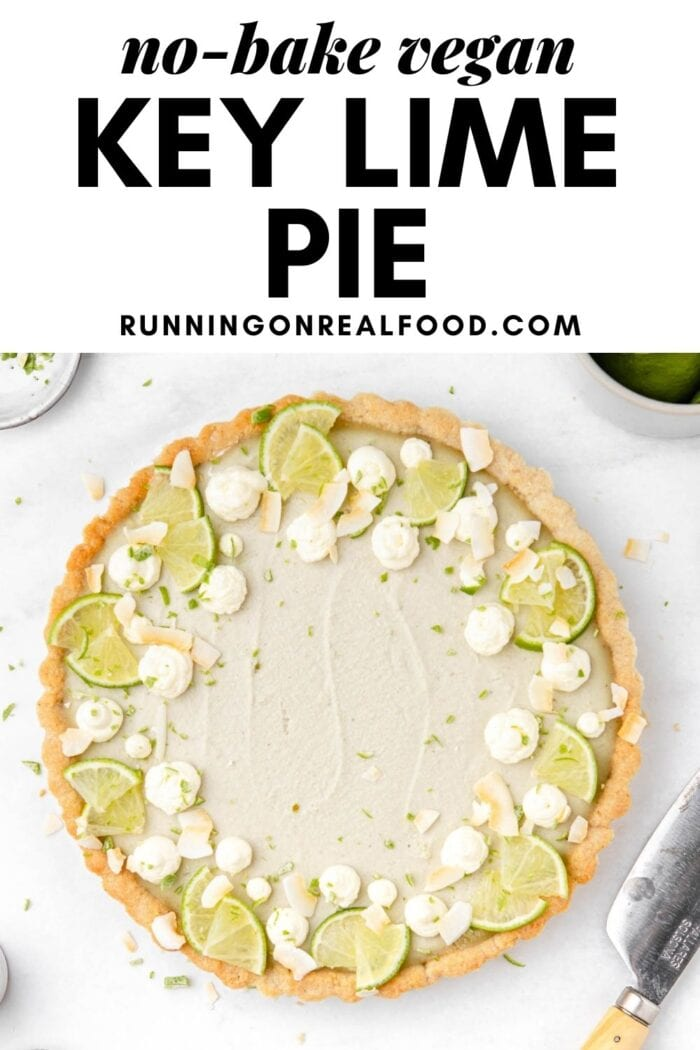 Pinterest graphic with an image and text for no-bake vegan key lime pie.