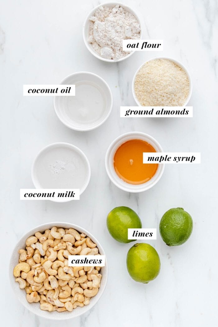 Visual list of ingredients for making a vegan key lime pie.