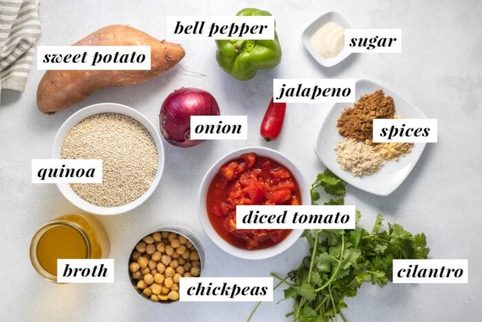 Visual list of ingredients for making a curried quinoa and chickpea recipe.