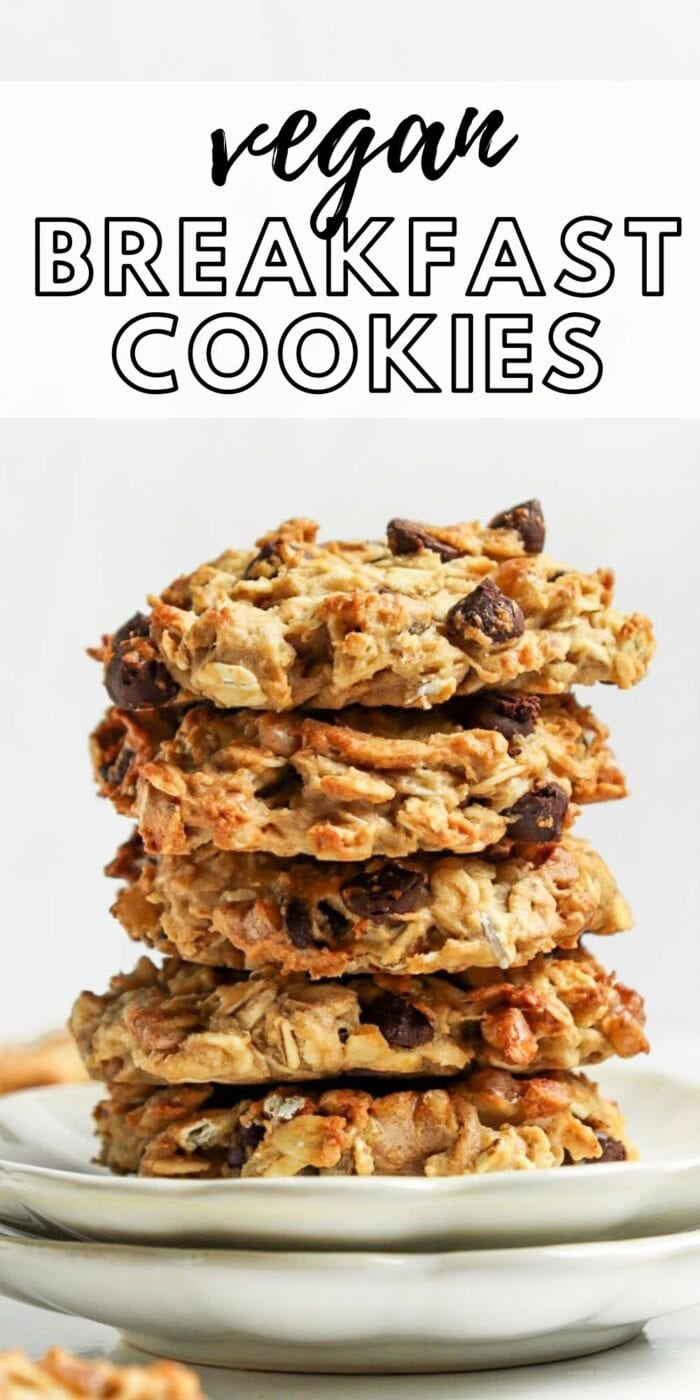 Pinterest graphic for vegan oatmeal cookies with images and text.