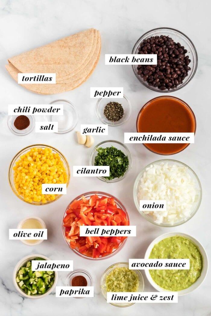 Visual list of ingredients for making black bean corn enchiladas.