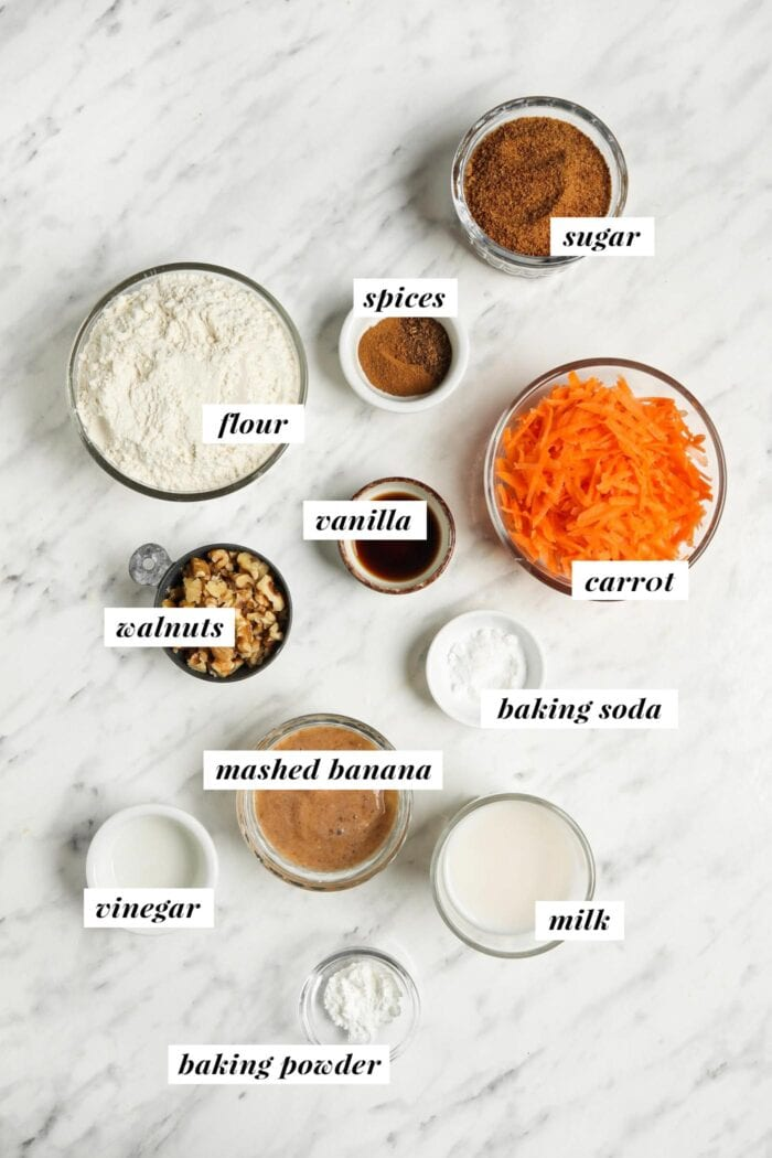 Visual list of ingredients needed for making a carrot banana bread.