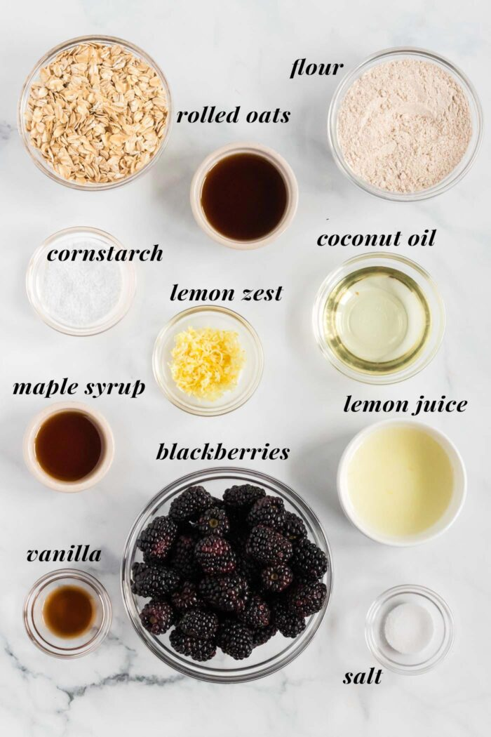 Visual list of ingredients needed for a vegan blackberry crumble recipe.