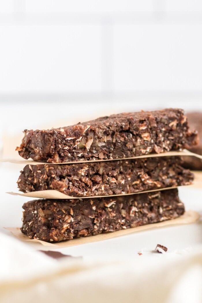 Stack of 3 chocolate energy bars.