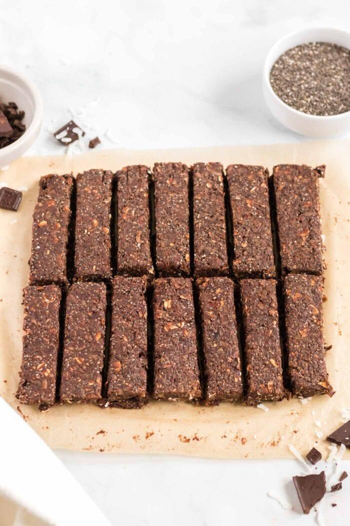 Chocolate energy bars sliced into 14 portions.