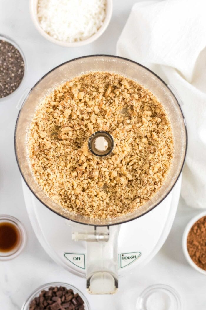 Blended walnuts in a food processor.