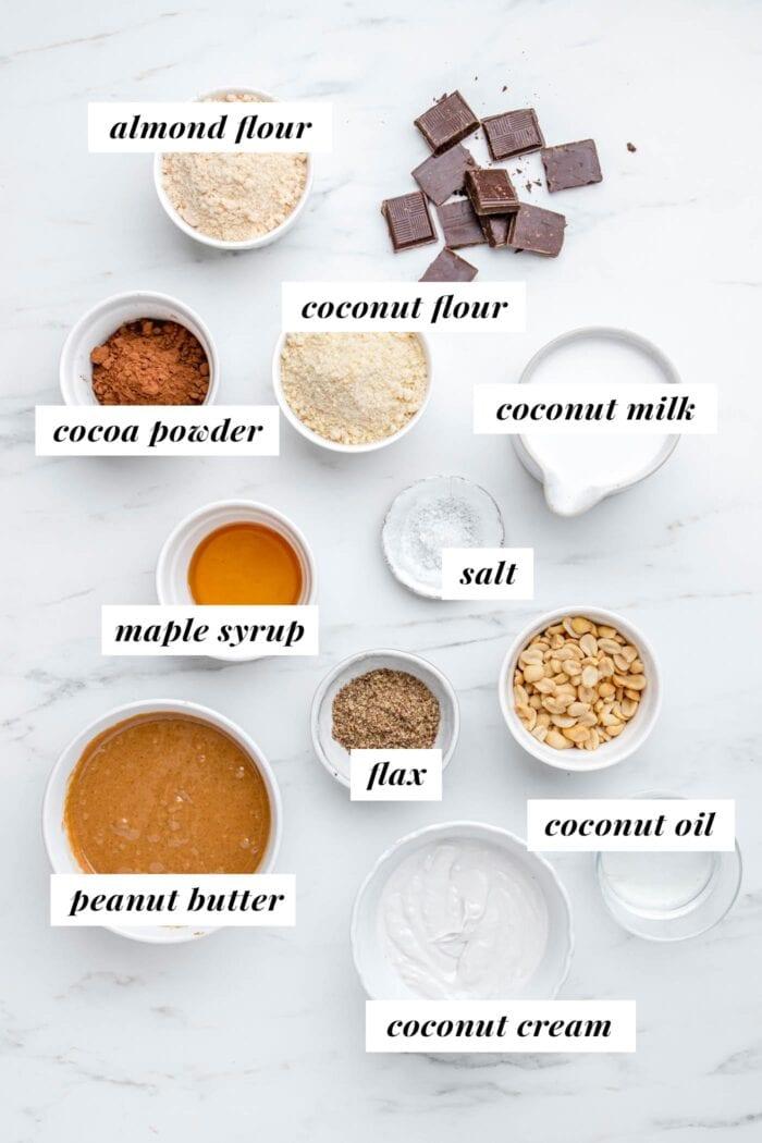 Visual list of ingredients for making vegan peanut butter pie recipe.