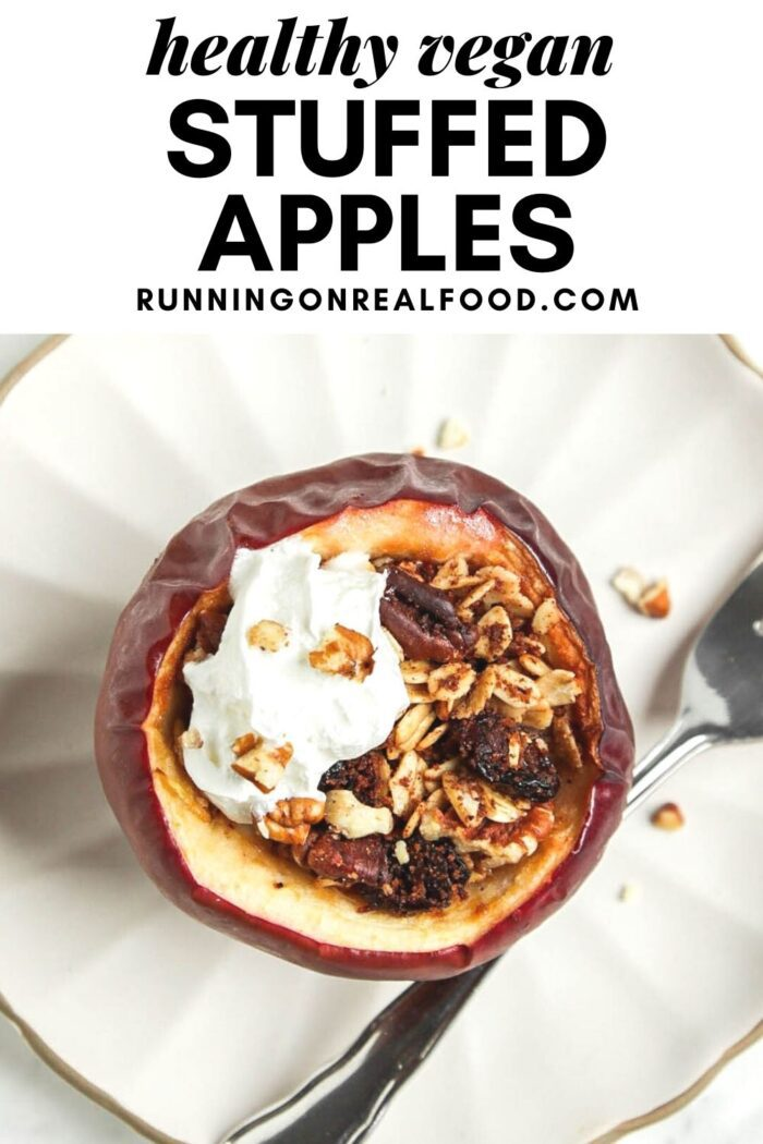 Pinterest graphic with an image and text for baked stuffed apples.