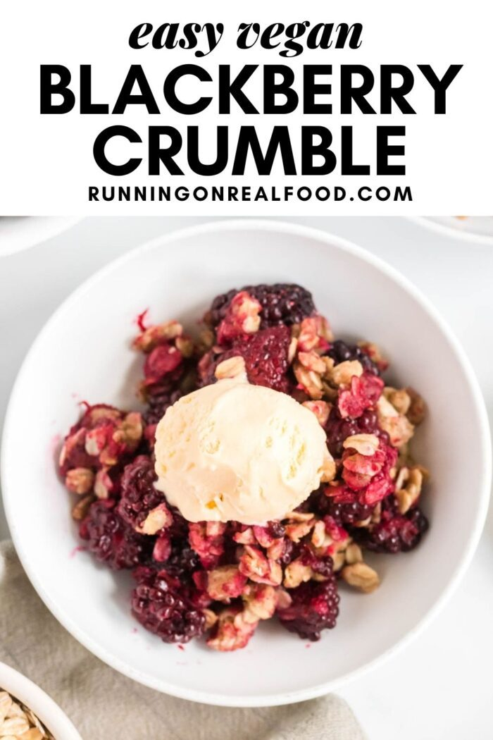 Pinterest graphic with an image and text for blackberry crumble.