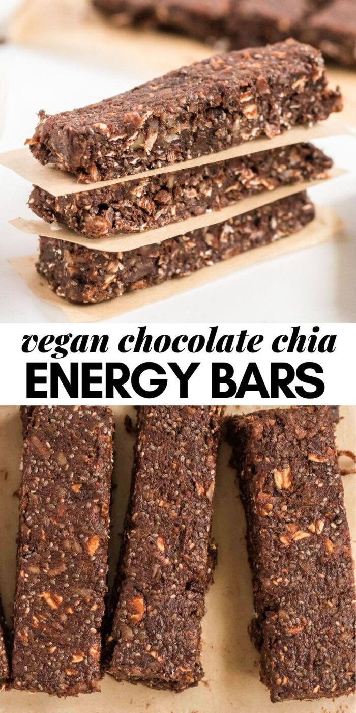 Pinterest graphic with an image and text for no-bake chocolate chia bars.