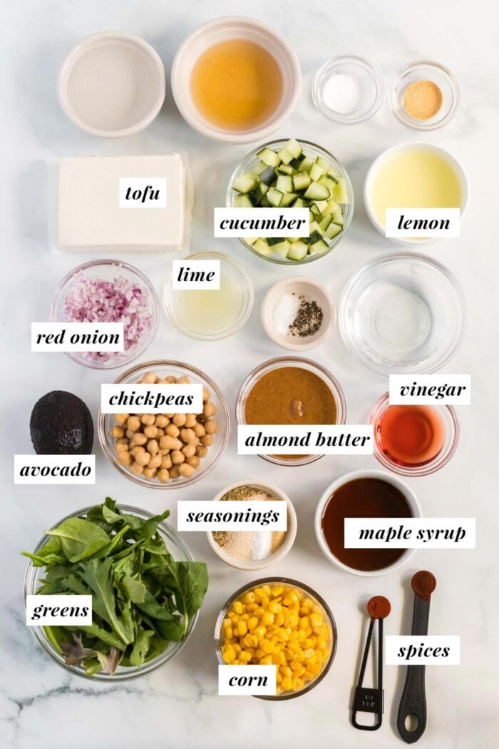 Visual list of ingredients for making a corn and avocado salad.