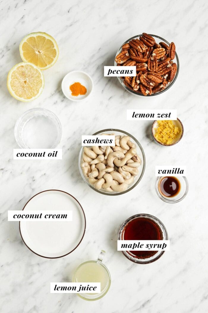 Visual list of all ingredients needed for making a raw vegan lemon cheesecake recipe.