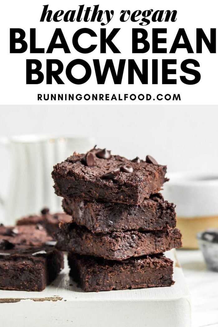 Pinterest graphic with an image and text for black bean brownies.