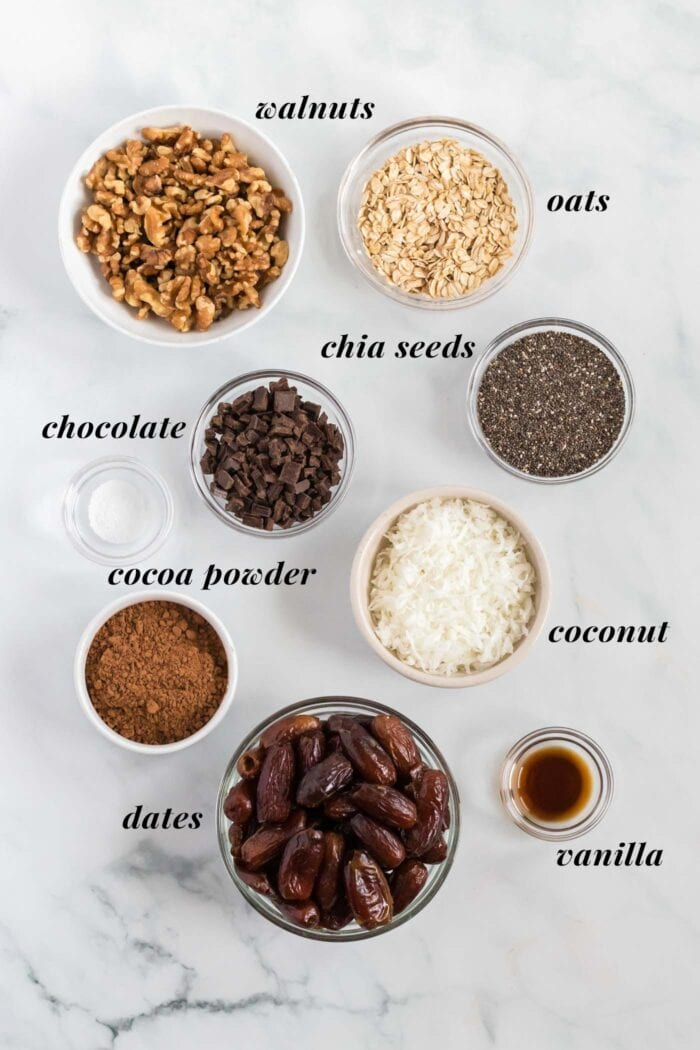 Visual list of ingredients for making chocolate chia seed energy bars.