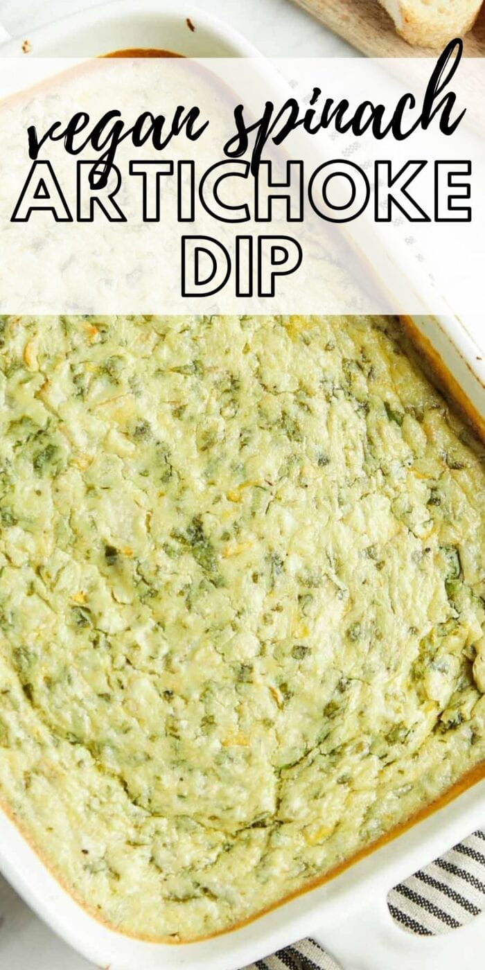 Pinterest graphic with an image and text for vegan spinach artichoke dip.