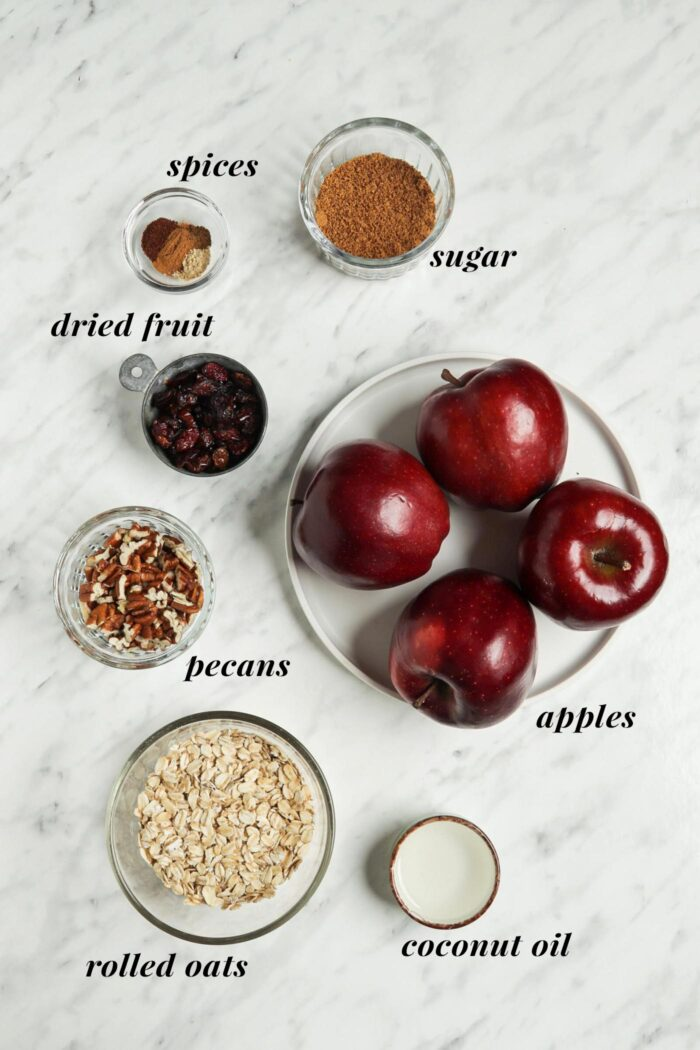 Visual ingredient list for making a stuffed baked apple recipe.
